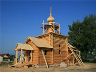 Construction of the log cabin church 4